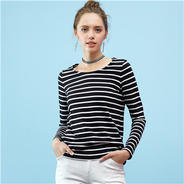 Cotton striped long sleeve tee