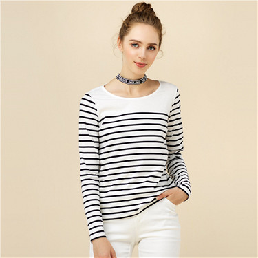 Cotton striped long sleeve tee