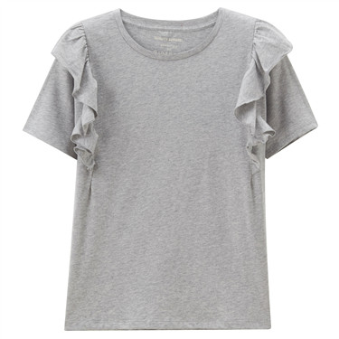 Solid ruffle cuff cotton tee
