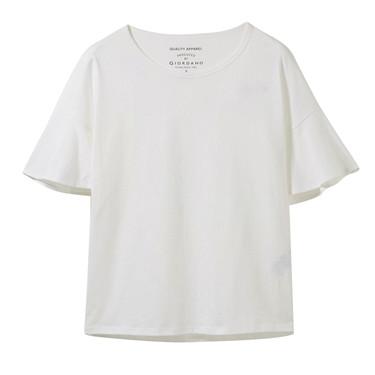 寬松圓領荷葉袖T恤