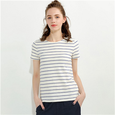圓領竹節棉短袖T恤