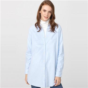 Flannel mid-long shirt