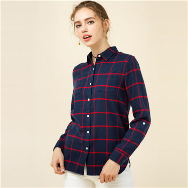 Flannel roll-up cuffs shirts