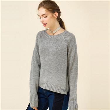 Crewneck woolen pullover sweater