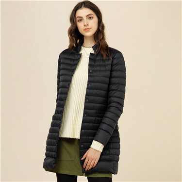 Mockneck mid-length down jacket