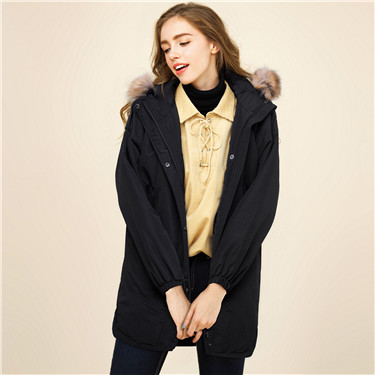 Mid-long hooded quilted jacket