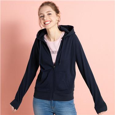 Solid zip hoodie