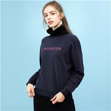 Letters-printed crewneck pullover