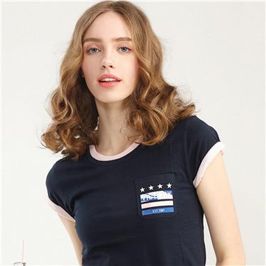 迷彩口袋女装T恤
