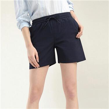 中腰抽绳休闲短裤