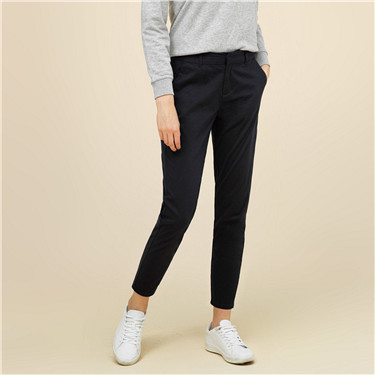Solid cotton elastic pants