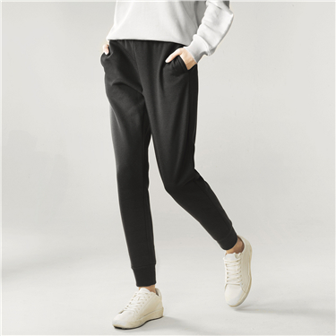 Pile coating casual pants
