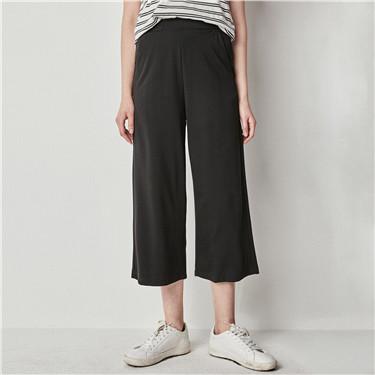 橡筋腰头针织阔腿裤