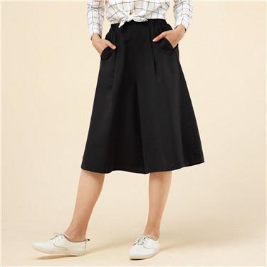 Mid rise elastic culottes