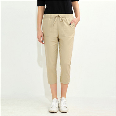 Linen-cotton straight pants