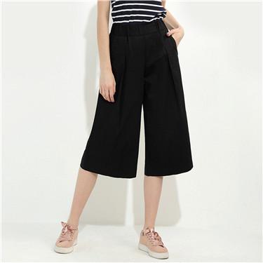 純棉中腰橡筋褲頭七分闊腿褲