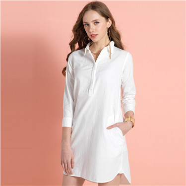 Oxford half placket tunic shirt