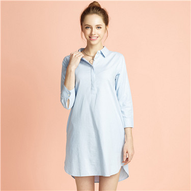 Oxford half placket tunic shirt