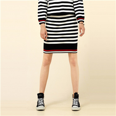 Color-blocking stripe skirt