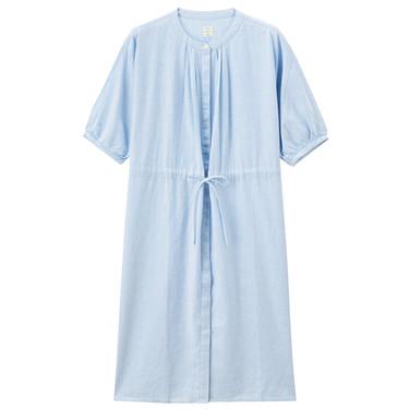 Linen cotton short sleeve shirt dress