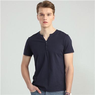 纯色亨利领短袖T恤