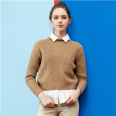 簡約素色羅紋半高領短款套頭針織衫