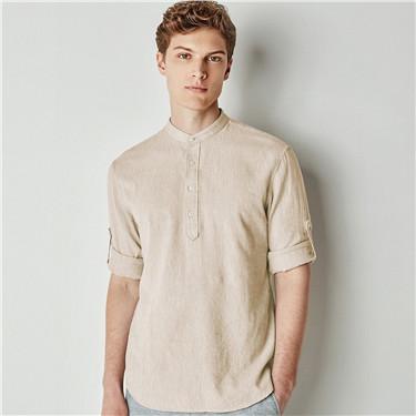 天然麻棉修身半开襟可卷袖休闲衬衫